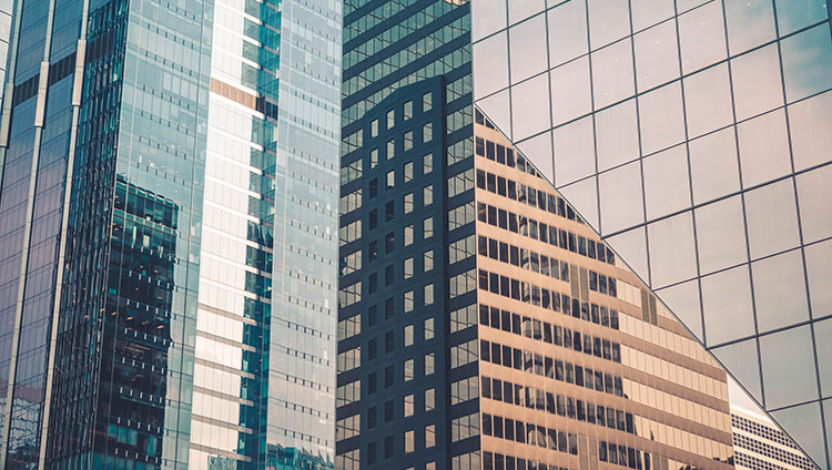 glass facades of corporate buildings